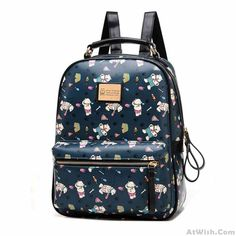 Wow~ Awesome Lovely Lovely Bear Printed Cartoon Leather Backpack! It only $57 at www.AtWish.com! I like it so much<3<3!