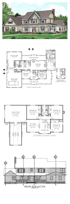 Country House Plan 96841 | Total Living Area: 3005 sq. ft., 5 bedrooms & 2.5 bathrooms. #houseplan #countrystyle: