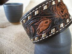 Vintage Western Leather Belt Bracelet Cuff