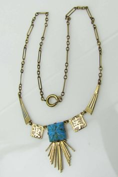 Art Deco Czech Gold Gilt Enamel Necklace With Turquoise Drop. Oriental Egyptian Revival Pendant Necklace. Vintage 1930s Art Deco Jewelry. by MercyMadge on Etsy