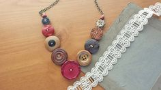 Necklace made with vintage and antique wooden buttons!