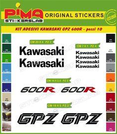 KIT ADESIVI STICKERS MOTO KAWASAKI GPZ 600 R -10 PEZZI-