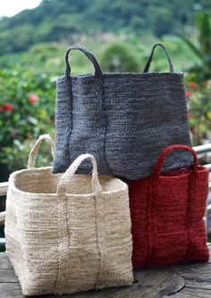 The extra large Baha Basket. These baskets are the 'hold all' in our range. Perfect for stowing away all of those kids' toys or things that you regularly use but don't want on the floor. Sac Vanessa Bruno, Basket Bag, Knitted Bags, Crochet Bags, Handmade Bags, Basket Weaving, Purses And Bags, Pouch, Reusable Tote Bags