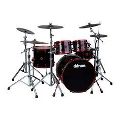 DDrum REFLEX 522 5PC SET BLACK WRAP W/ RED HARDWARE SHELL PACK 22 in Bass Drum #ddrum