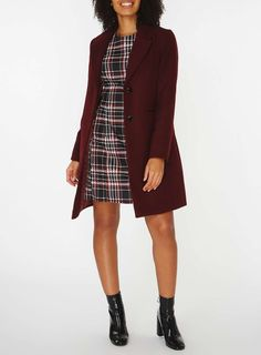 Womens Red Checked Fit and Flare Dress- Red