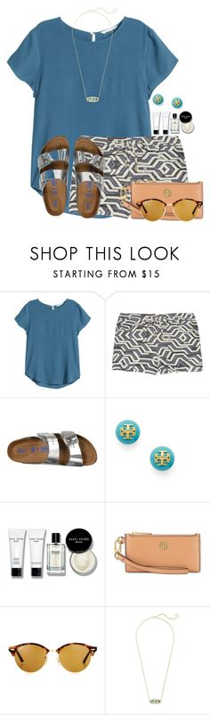 """""""When you and your aunt are playing Shawn Mendes😂"""" by flroasburn ❤ liked on Polyvore featuring H&M, Melissa Odabash, Birkenstock, Tory Burch, Bobbi Brown Cosmetics, Ray-Ban and Kendra Scott"""