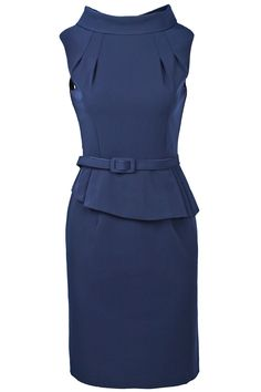 Navy Lapel Sleeveless Belt Ruffles Dress. Just so beautiful and classy.