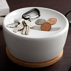 wood and ceramic keys & coins storage