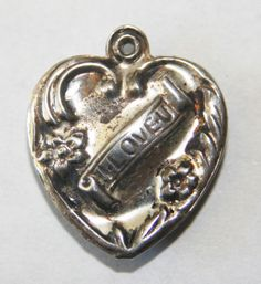"""Vintage 925 Sterling Silver Puffy Heart Charm Repousse """"I Love U"""""""