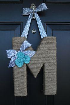 The Original Jute Monogram Wreath. Jute by EmbellishedLiving Letter Wreath, Monogram Wreath, Diy Wreath, Diy Monogram, Crafts To Sell, Diy And Crafts, Crafts For Kids, Arts And Crafts, Twine Letters