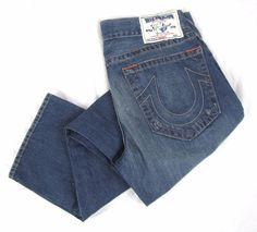 True Religion Men's Jeans 34 x 33 Classic Straight leg Frayed Blue Wash Denim #TrueReligion #ClassicStraightLeg