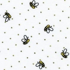 "Bumble Bees on White - 60"" Wide Fabric"