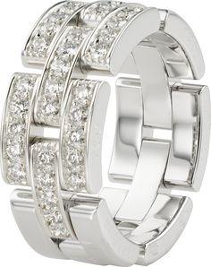 Maillon Panthère ring, 3 half diamond-paved rowsWhite gold, diamonds