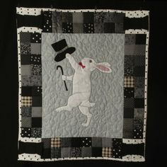 Bunny quilt celebrating the age of black and white cinema.