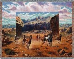 Running Horses Western Mountain Scene Tapestry Wall Hanging