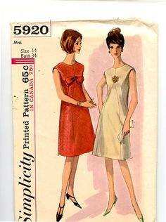 1960s Vintage Dress Simplicity Pattern 5920  A-Line, Collarless, Sleeveless, Shaped Front Inset, Optional Lining & Bow Trim Size 14 Bust 34