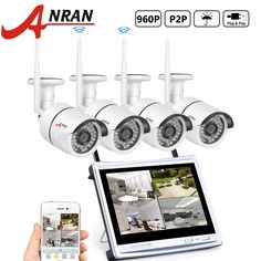 "ANRAN 4CH WIFI NVR with 12"" Monitor Wireless Security Camera System with 4 Waterproof 960P Outdoor 36IR Night Vision IP Video Surveillance Camera Plug and Play No Hard Drive"