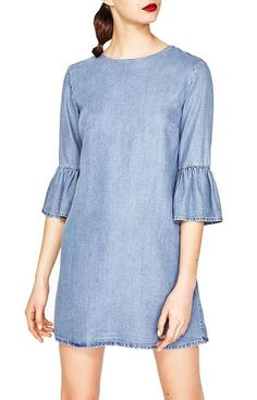 Specifications: Gender:Women Pattern Type:Solid Silhouette:Straight Dresses Length:Above Knee, Mini Sleeve Style:Flare Sleeve Material:Denim Sleeve Length:Half Season:Summer Style:Casual Decoration:No