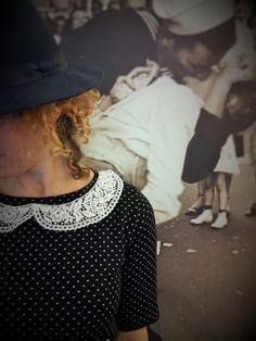 """Collezione """"Times Square"""" SS15  Abito BD Tessuto Punto Milano nero con micropois bianchi, colletto cotone pizzo macramè bianco."""
