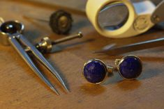 Cufflinks Sterling Silver 925 and Lapis lazuli cabochon Bespoke Jewellery, Lapis Lazuli, Cufflinks, Stud Earrings, Sterling Silver, Handmade, Accessories, Jewelry, Earrings