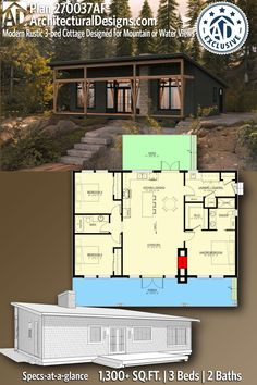 The front of this 3-bed 2-bath 1300 sq ft modern Rustic cottage house plan gives you a 46'-wide (and 8'-deep) porch to enjoy the views of the water or the mountains. All the rooms on the front have windows designed to capture the views. A split bedrooms layout maximizes your privacy and leaves the middle of the home open concept.