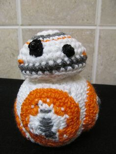 BB8 Star Wars The Force Awakens figure. Hand crocheted. Cotton. Geek. Nerd. Film. by TwistedHeadmistress on Etsy