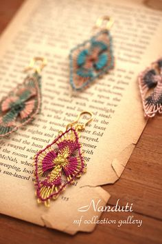 2015 Feb.18 photoshop4 Tenerife, String Crafts, Bead Crafts, Lace Jewelry, Scarf Jewelry, Pin Weaving, Bobbin Lace Patterns, Crochet Butterfly, Yarn Thread
