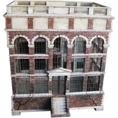 """Large Architectural Bird Cage with Later Custom Base  USA  Early 20th C  Great looking large bird cage made to look like a Georgian Mansion with little faux painted bricks --this comes with a later made custom English style base overall height is 67"""""""