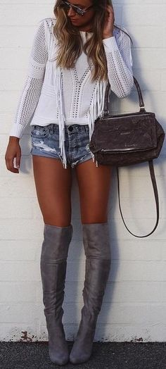 White + Denim + Grey Suede @roressclothes closet ideas #women fashion outfit #clothing style apparel