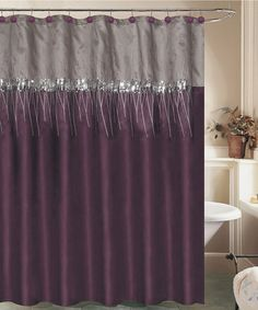 PURPLE Ruffled Double Swag Fabric Shower CurtainVinyl Liner12