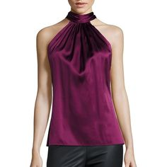 Ramy Brook Paige Tie-Neck Sleeveless Blouse ($185) ❤ liked on Polyvore featuring tops, blouses, apparel & accessories, collar top, racer back top, sleeveless blouse, purple sleeveless top and collar blouse
