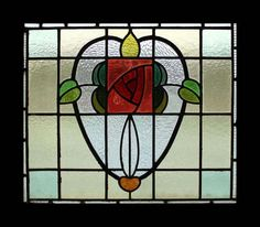 THE MOST AMAZING MACKINTOSH ROSE ANTIQUE STAINED GLASS WINDOW