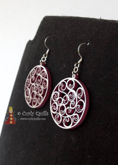 Items similar to Burgandy & Silver Metallic Edge Beehive Quilled Earrings on Etsy Paper Quilling Earrings, Quilling Work, Quilling Jewelry, Quilling Paper Craft, Paper Crafts, Hair Jewelry, Beaded Jewelry, Handmade Jewelry, Jewellery