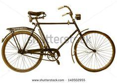 Retro styled image of a nineteenth century bicycle isolated on a white background - stock photo