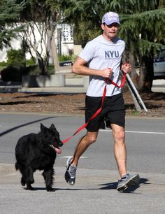 Actor Jerry O'Connell out for a jog in Calabasas with his dog.
