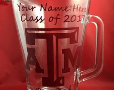 Texas A&M Aggie Ring Dunk Pitcher - Vinyl lettering and personalized for you! - Ring Dunk Lady