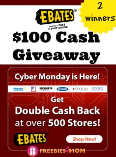 Whatever deals your finding on Cyber Monday - Ebates can probably make them even sweeter with cash back! 10% Cash Back at 10 Stores: Macy's, Sephora, Sears, Nike, J. Crew, Fossil, Eastbay, Puritan's Pride, Drugstore.com, Backcountry.com plus $100 CASH GIVEAWAY (ends Dec. 2) http://freebies4mom.com/cyber100/