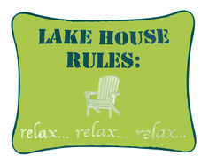 "12"" x 16"" Lake House Rules Embroidered Pillow #Lake #LakeHouse #Relax #CFEnterprises"