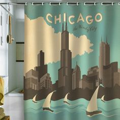 Chicago Shower Curtain 69x70 now featured on Fab.