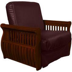 Epic Furnishings LLC Concord Futon Chair Upholstery: Bordeaux, Finish: Mahogany