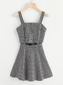 Gingham Print Single Breasted Cut Out Waist Dress US$15.99
