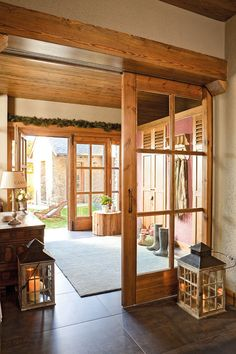 Hallway of the house with sliding doors. Hallway with wooden doors Style At Home, Japanese Bedroom, Interior Barn Doors, Design Case, Wooden Doors, Home Fashion, My Dream Home, Home And Living, House Plans