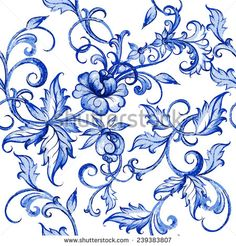 Vector floral watercolor texture pattern with flowers.Watercolor floral pattern.Blue flowers pattern.Seamless pattern can be used for wallpaper,pattern fills,web page background,surface textures - stock vector