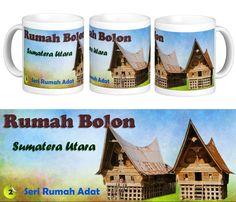 "Mug Keramik tema seni budaya Indonesia, edisi khusus rumah adat ""Bolon"" Sumatera Utara.  Cocok buat hadiah / souvenir etnik nusantara."
