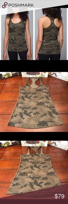 Lululemon Cool Racerback Tank-Camo Green, Size 10 Lululemon Cool Racerback CRB Tank-Savasana Camo Fatigue Green, Size 10  The Lulu Savasana Camo print is a rare one.  There isn't a size tag or dot, but based on measurements of other CRBs in my closet, this is a size 10. Made of Luon. Fabulous condition! ☺ Matching speed shorts if you want to go full-on camo are in a separate listing. 😁  Length-28.5 inches  Bust- 32 inches (16 inches across) Material- Luon Light lululemon athletica Tops Tank…