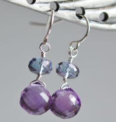 Purple Amethyst Blue Quartz Wire Wrapped Sterling by hamptonjewels, $26.00