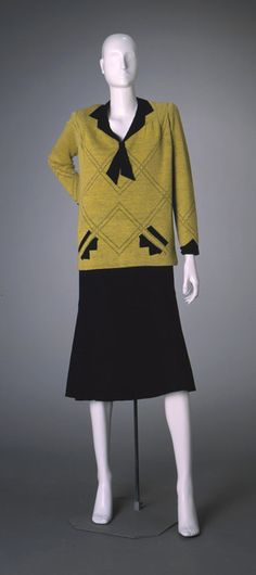 Sweater Ensemble  1926 vintage fashion style yellow black outfit suit dress 20s flapper art deco skirt top shirt knit - learn to retrocycle and make your own vintage sweaters at http://americanduchess.blogspot.com/2015/11/retro-cycling-modern-sweaters-to-make.html