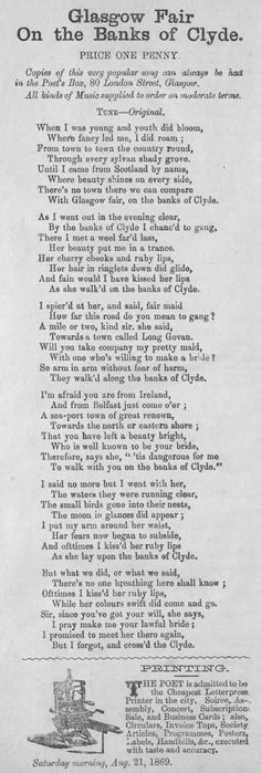 Broadside ballad entitled 'Glasgow Fair on the Banks of Clyde', Glasgow, Scotland. West Coast Scotland, Glasgow Scotland, Songs, Brave, Paisley, Scenery, Victorian, Spaces, Traditional