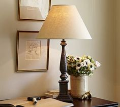 Ellis Table Lamp Base- love the [icture frame matte comco on the wall