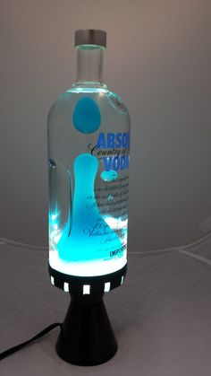 Liquor Bottle Lights, Liquor Bottles, Glass Bottles, Bottle Art, Bottle Crafts, Cool Lava Lamps, Alcohol Bottles, Vodka Alcohol, Absolut Vodka